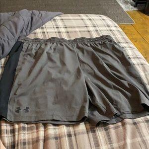 Under Armour Mens Shorts Black Gray Size 2XL